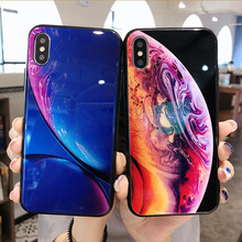 Tempered Glass Case For iPhone 7 8 Plus Silicone Stars Space Cover Phone X XS Max XR 6s 6 Luxury Cases