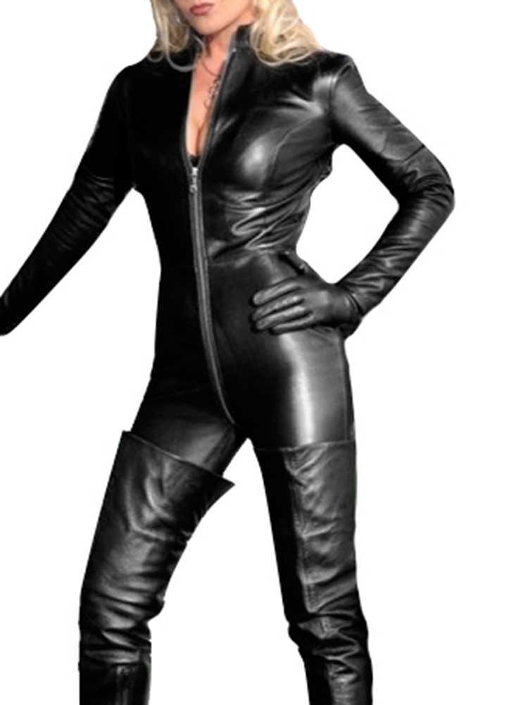 Seksowna bielizna Wetlook PVC body lateksowe dla kobiet podwójny zamek błyskawiczny otwarte krocza klub nocny ubrania taneczne skórzane catsuit