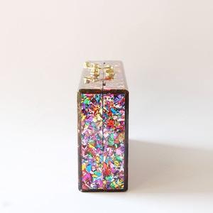 Image 4 - Цветная акриловая коробка, сумка через плечо с металлической застежкой, черная ткань, Женский брендовый пляжный летний акриловый кошелек