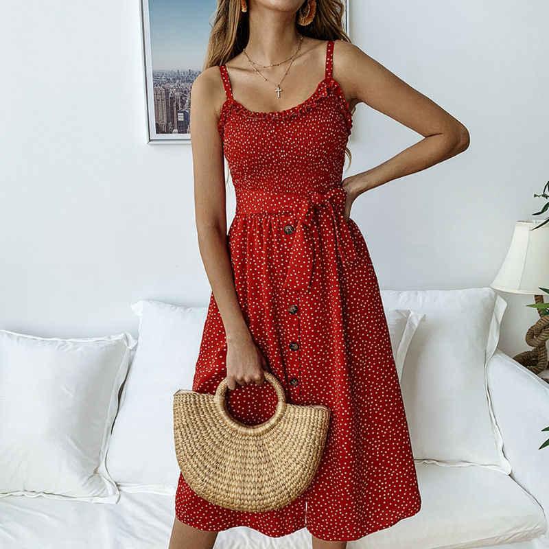 b1e1fd2acaf Boho Dot Print Summer Dress Women Button Sleeveless Midi Dresses Female  vintage Sunflower Pleated Backless Button