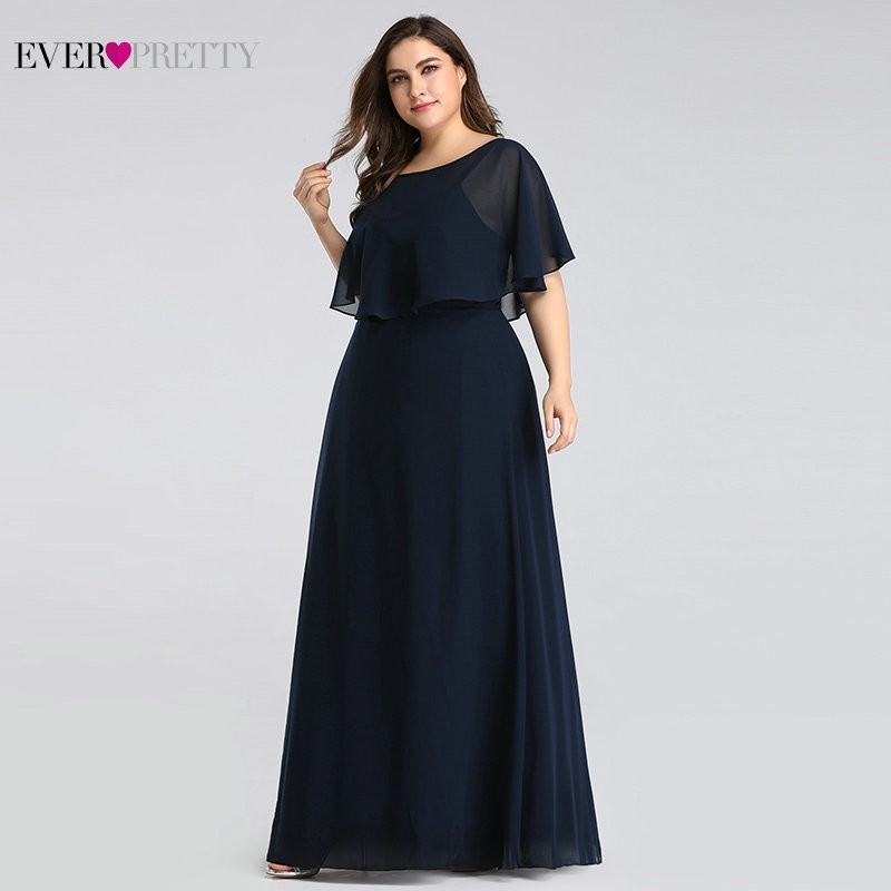 Evening Dresses Long 2020 Ever Pretty Cheap Elegant Navy Blue A-line Chiffon Evening Gowns For Women Short Sleeve Robe De Soiree