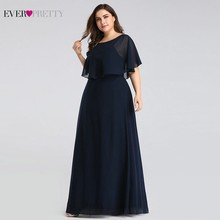 Evening Dresses Long 2020 Ever Pretty Cheap Elegant Navy Blue A line Chiffon Evening Gowns For Women Short Sleeve Robe De Soiree