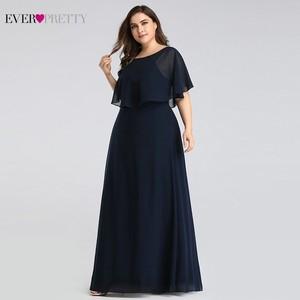 Image 1 - Evening Dresses Long 2020 Ever Pretty Cheap Elegant Navy Blue A line Chiffon Evening Gowns For Women Short Sleeve Robe De Soiree