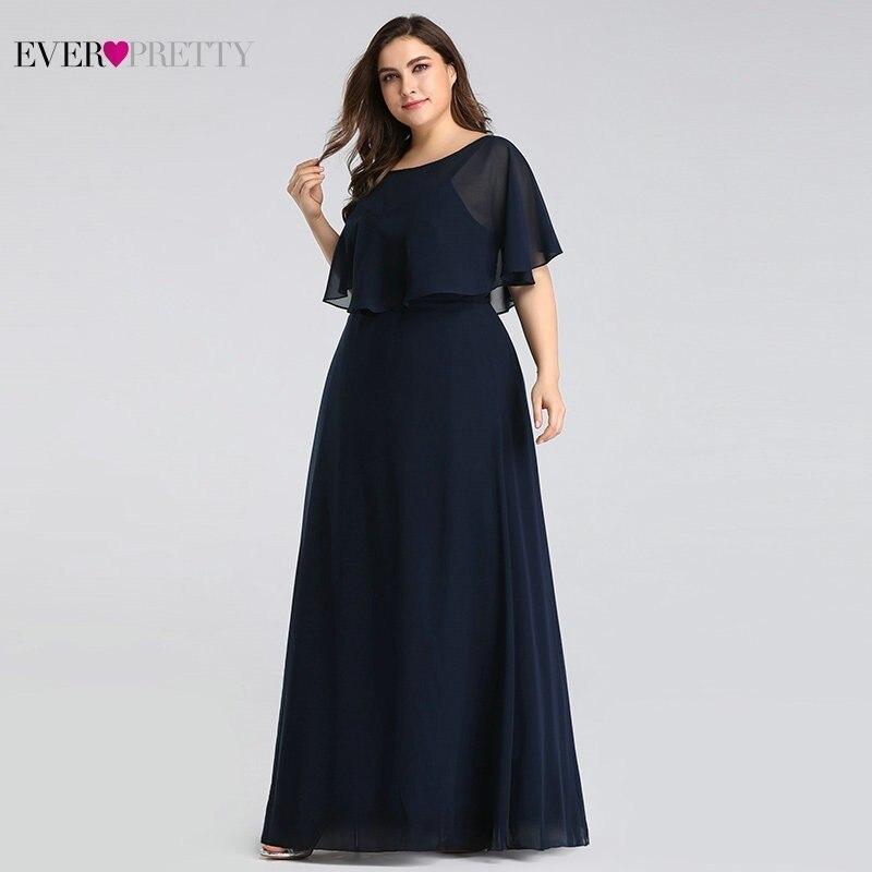 Robes De soirée longue 2019 Ever Pretty pas cher élégant bleu marine a-ligne en mousseline De soie robes De soirée pour les femmes à manches courtes Robe De soirée
