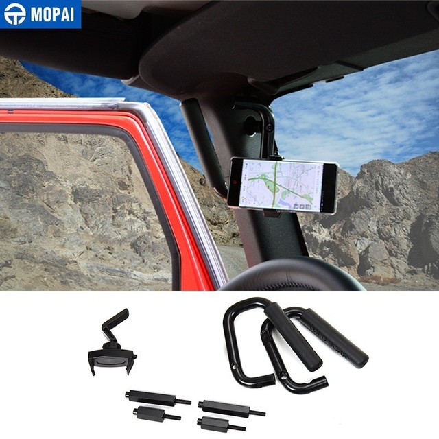 MOPAI Armrests for Jeep Wrangler JK 2007 Up Car Front Grab Handle With Mobile Phone Holder Kit for Jeep Wrangler Car Accessories