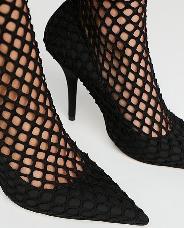 Femmes Partie Bout Pointu Talons Chaude Mode Taille Pompes Sexy Printemps De Noir Découpe Style Chaussures Maille Super 42 Haute Dames Mystère fgvwxqIIT