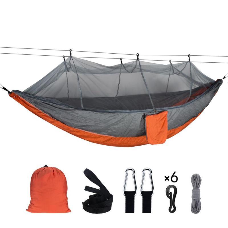 ขนาดใหญ่กลางแจ้งยุงสุทธิเปลญวนร่มชูชีพ 1-2 คนแขวน Sleeping Bed สำหรับ Camping Backpacking Beach 260X140 ซม.ใหม่