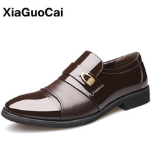 British Luxury Men's Dress Leather Shoes Oxfords Spring Autumn Pointed Toe Slip-On Business Mens Flats Wedding Shoes 2019 new pjcmg spring autumn cool serpentine black wine red mens flats dress genuine leather oxfords business mens wedding shoes