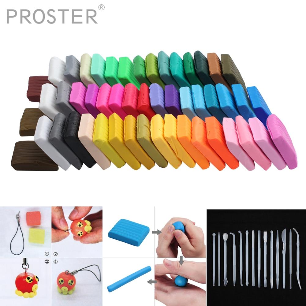 PROSTER 50 couleurs polymère argile four cuit coloré modélisation moulage 32 blocs créatif bricolage malléable Fimo cadeau pour enfant