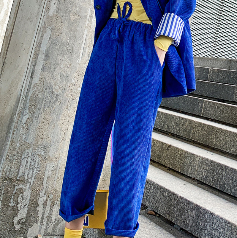 Suit À Ad303 En Manches V Taille 2019 Automne Ample Manteau Singel col Patchwork Pantalon Printemps Longues Blue ewq Vintage Breasted Réglable wxqRUXB