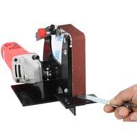 M14 Mini 1pc Angle Grinder Belt Sander Attachment Sanding Belt Adapter + 5pcs Sanding Belts For DIY Power Tool Accessories