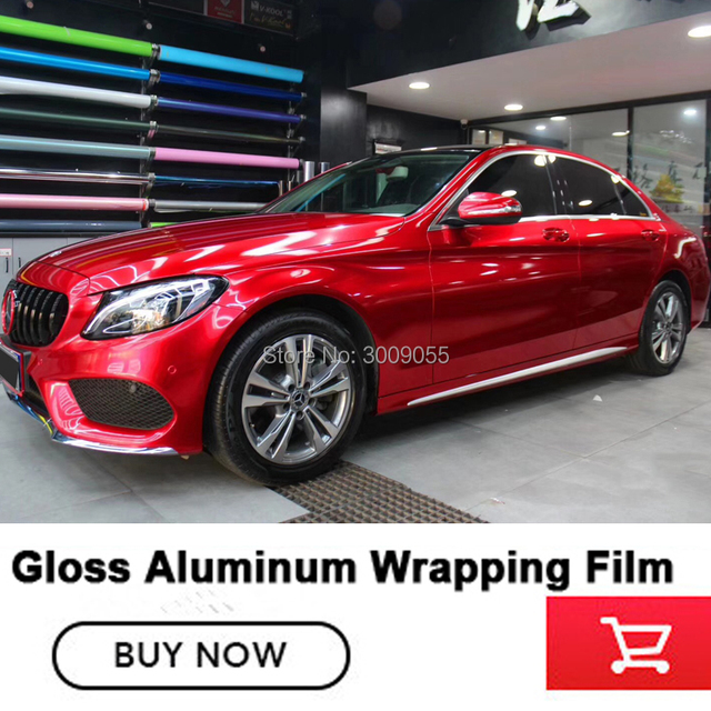 Real high end red Gloss Candy Vinyl Car Wrap Styling with Air Free full  SHINY RED car Covering low initial tack adhesive