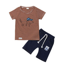 Fashion Brand Designer Baby Boy Clothes Sport Clothing Tracksuit Active Striped Cartoon Tshirt + Shorts Toddler Sets