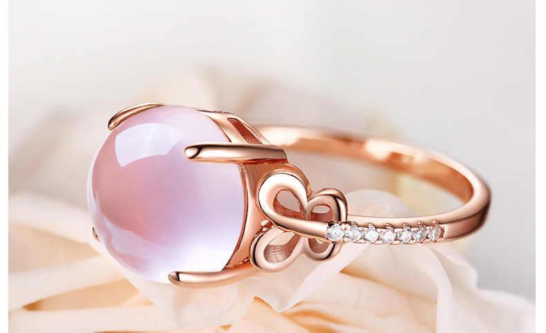 18K Rose Gold แหวนเปิดปรับควอตซ์แต่งงาน anillos แหวน Bizuteria สำหรับเครื่องประดับแหวนเพชร 2 กะรัตเครื่องประดับ