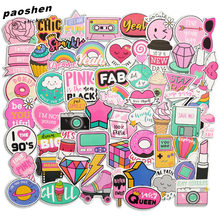 60 Pcs PVC Waterproof Girls Kawaii Pink Fun Sticker Toys Luggage Stickers for Moto Car & Suitcase Cool Fashion Laptop Stickers(China)