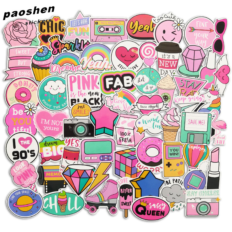 60 Pcs PVC Waterproof Vsco Girls Kawaii Pink Fun Sticker Toys Luggage Stickers For Moto Car & Suitcase Cool Fashion Stickers