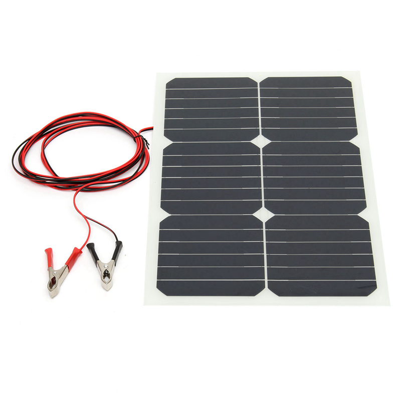 LEORY Monocrystalline Solar Panel 20W 12V Semi Flexible Sun Power For RV Car Boat Battery Charger Solar Cells Module+Chip image