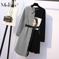 XL 5XL Plus Size Women Long Sleeve Dress Spring 2019 Streetwear Print Knitted Cotton Long T shirt Patchwork Plaid Shirt Dresses