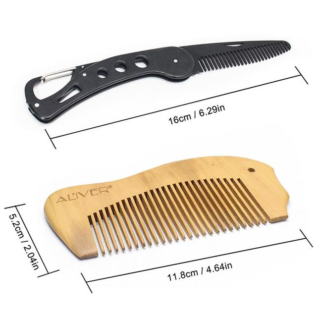 XY Fancy 7 Pcs/set Men Beard Care Suit Beard Comb Pig Bristle Brush Growth Cream Oil Beard Styling Care Cleaning Kit 6