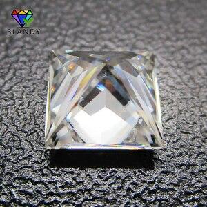 Image 3 - 3x3 ~ 12x12 مللي متر مربع الشكل الأميرة قص فضفاض DEF اللون الأبيض مويسانيتي حجر الأحجار الكريمة الاصطناعية ل مجموعات الزفاف الذهب الأبيض