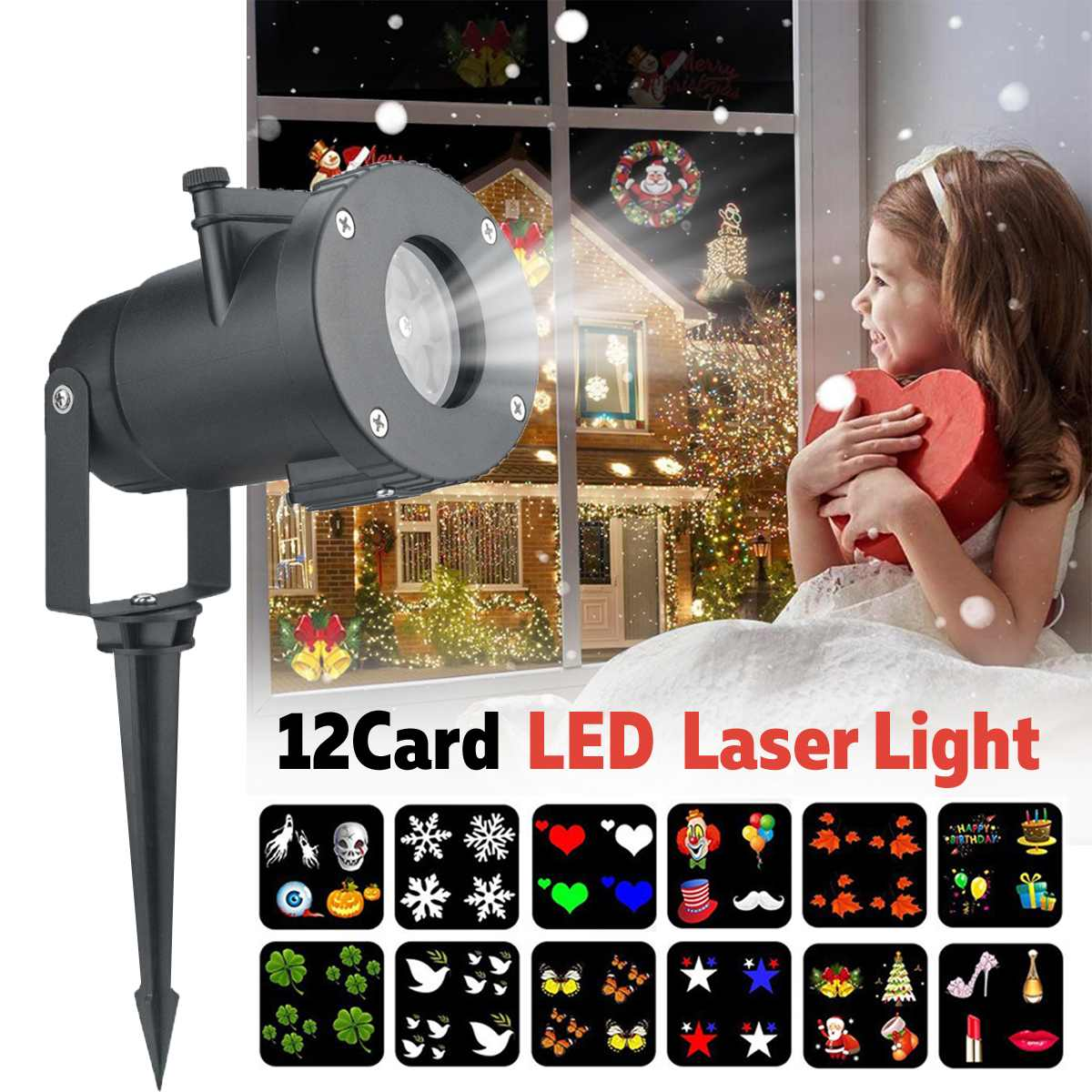 LED Mini Projector  Light Adjustable Waterproof Lamp With 12 Slide Card Christmas High Quality