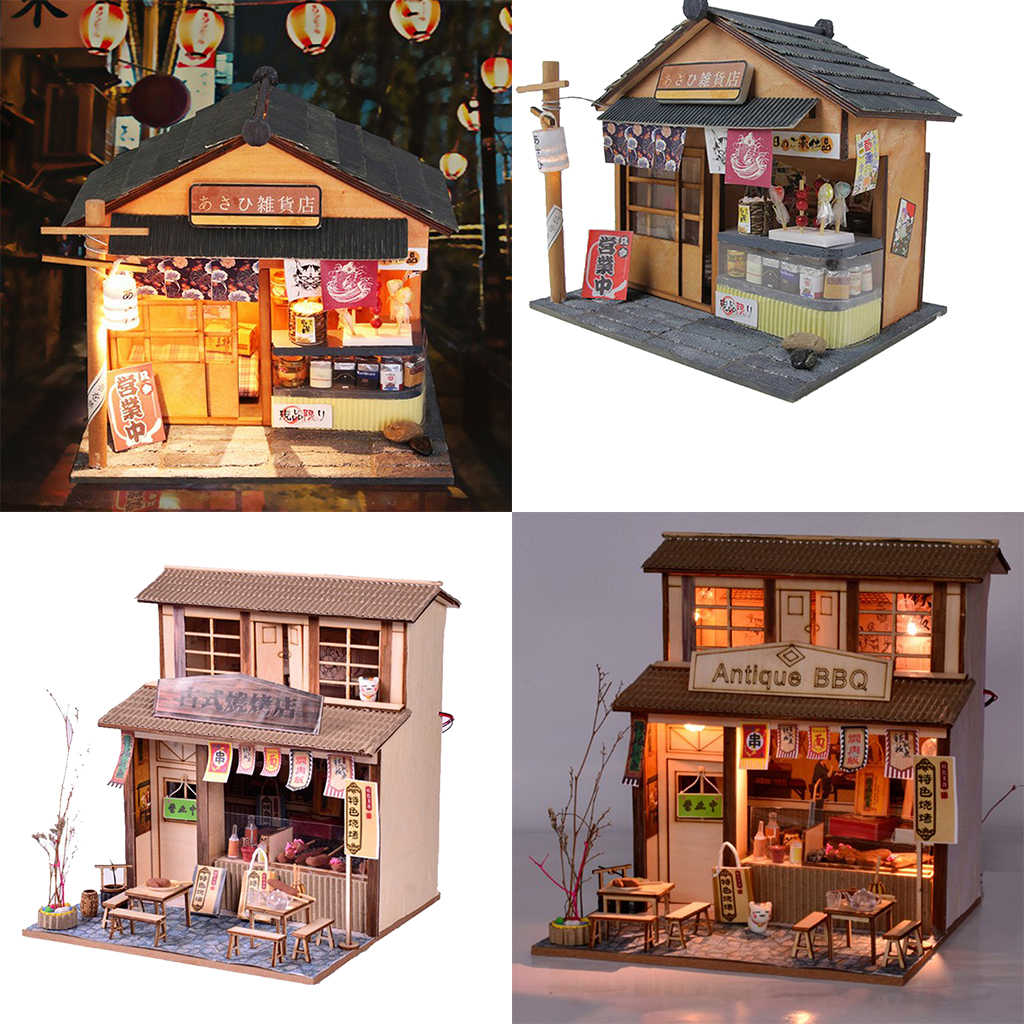 2 Set 124 Diy Handcraft Miniature Project Wooden Dolls House Kids Gift Antique Barbecue Restaurant Grocery Store