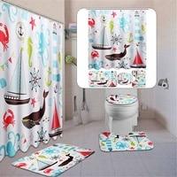 Bath Mat Set Rug Lid Marine Animal Waterproof Shower Curtain 3Pc Non Slip Toilet Cover Home Bathroom Curtains 180*180CM