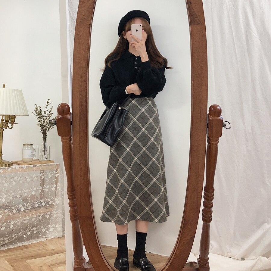 Plus Size Harajuku Long Skirt Korean Grey Plaid Skirt Women Zipper High Waist School Girl Pleated Plaid Skirt Vintage Long Skirt