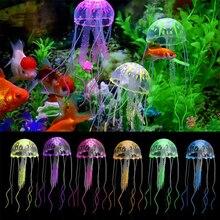 Glowing Effect Artificial Jellyfish Fish Tank Aquarium Decoration Mini Submarine Ornament Underwater Pet Decor