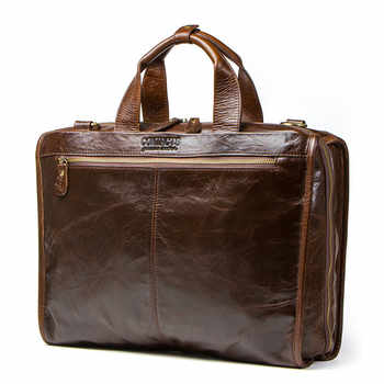 Top Quality Cowhide Leather Men\'s Bag For 15.6 Inch Laptop Man Computer Bag Mens Shoulder Bags Luxury Handbags Travel Briefcases - DISCOUNT ITEM  43 OFF Luggage & Bags
