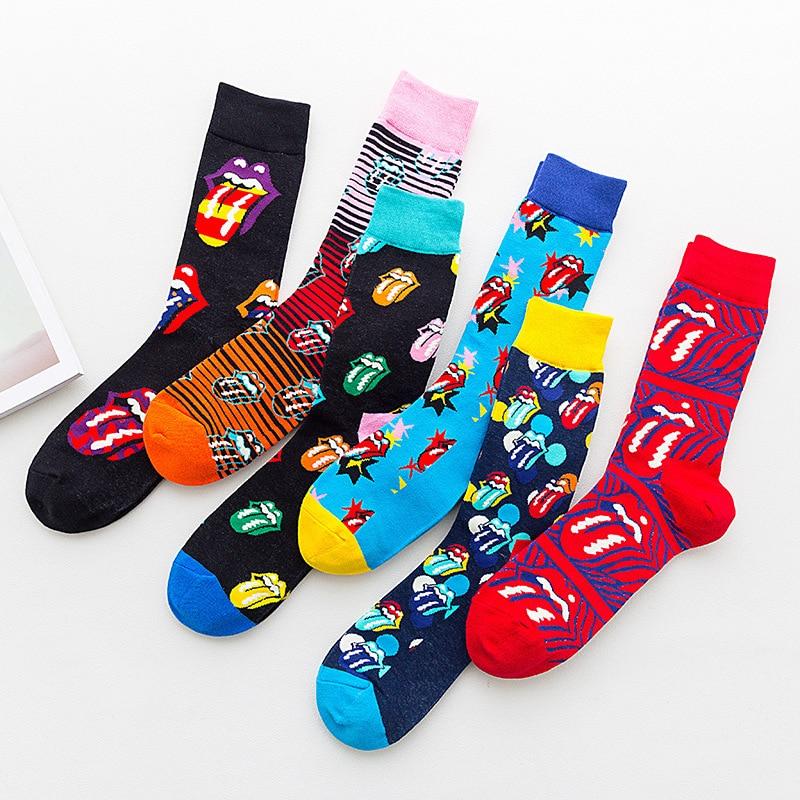 PEONFLY Funny Mouth Tongue Printing Socks Men Colorful Star Striped Casual Sokken Harajuku Hip Hop Skateboard Happy Socks