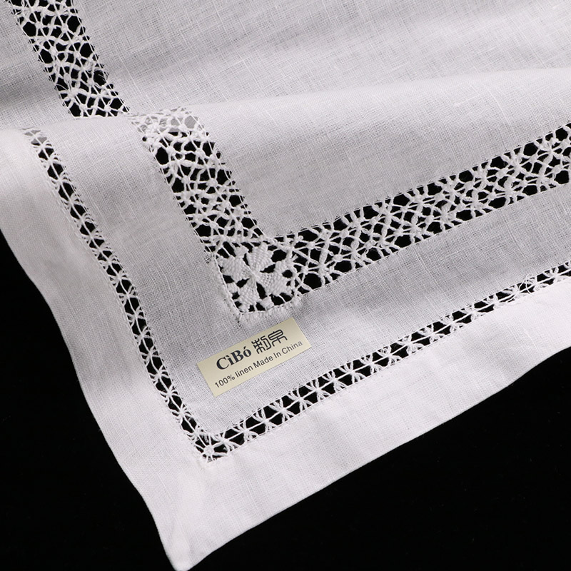 N011 Linen 12 pieces placemats with drawnwork White Handmade embroidery place mat Rectangular Tableware mat
