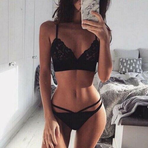 UK Hot Women Sexy Sissy Lace   Bra     Set   Lingerie Thong See Through Push Up Bralette