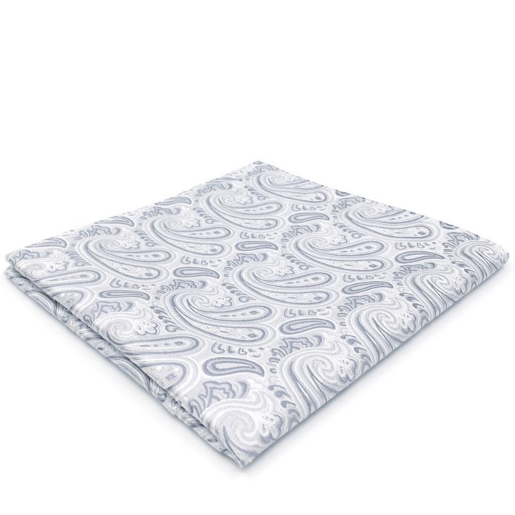 AH31 Fashion Classic Mens Pocket Square Silver Paisley Silk Jacquard Woven Handkerchief 12.6