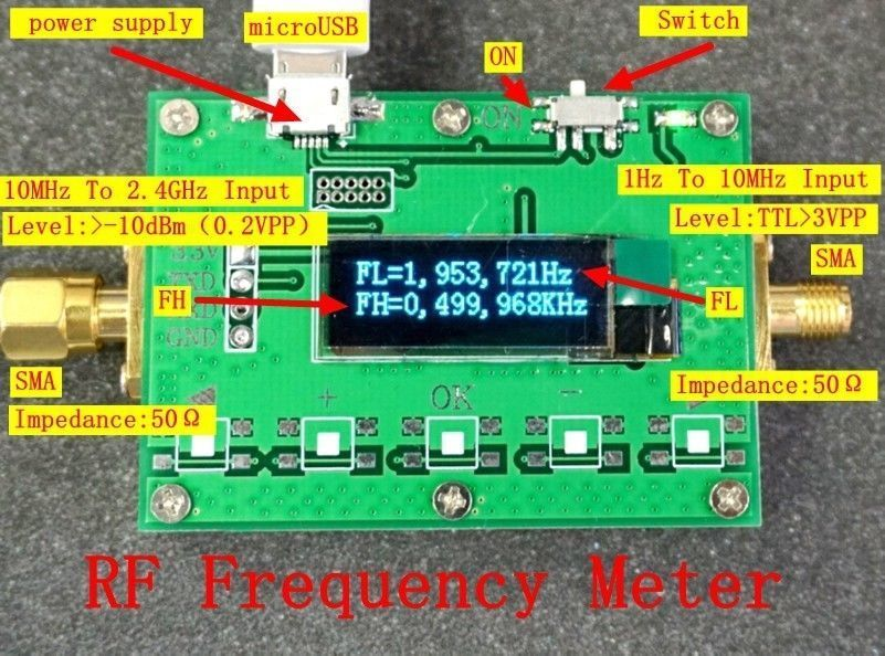 High precision OLED display 1Hz-2.4GHz Radio frequency meter FH FL measurementHigh precision OLED display 1Hz-2.4GHz Radio frequency meter FH FL measurement
