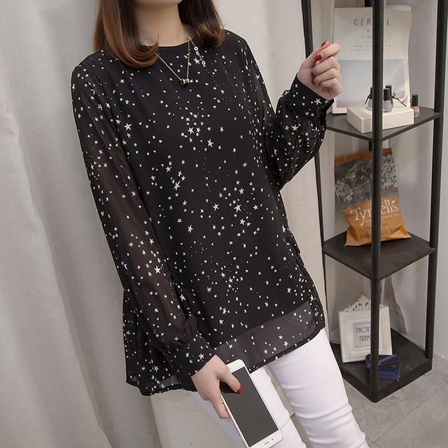 Plus size Women Tops and Blouses 2020 Spring Autumn Star Printing Chiffon Shirts oversize Loose Long sleeve Blusas Femininas 4