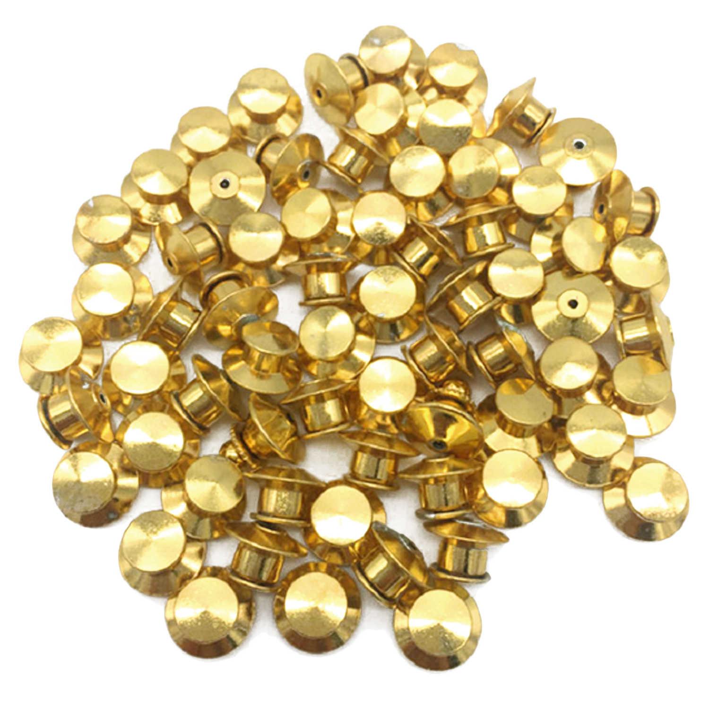 30 Pcs Logam Pin Mengunci Punggung Penjaga Kunci untuk Nama Kategori Lencana Perhiasan Bros Buku Koleksi Emas