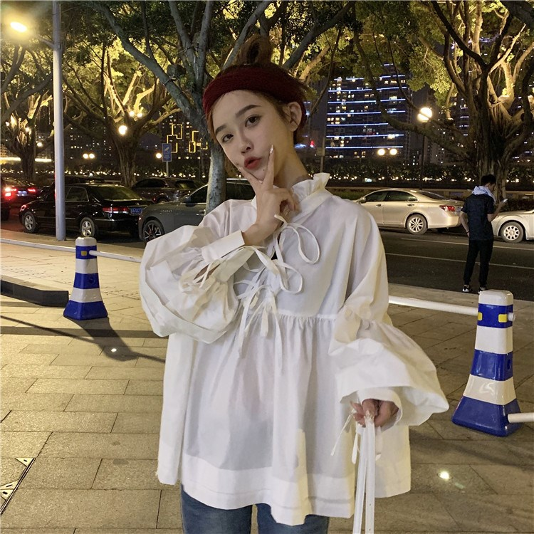 2019 New Spring Summer Stand Collar Long Sleeve Blouse Solid White Ruffles Split Joint Onesize Shirt