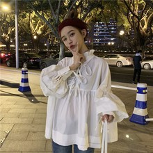 2019 New Spring Summer Stand Collar Long Sleeve Blouse Solid White Ruffles Split Joint Onesize Shirt недорго, оригинальная цена
