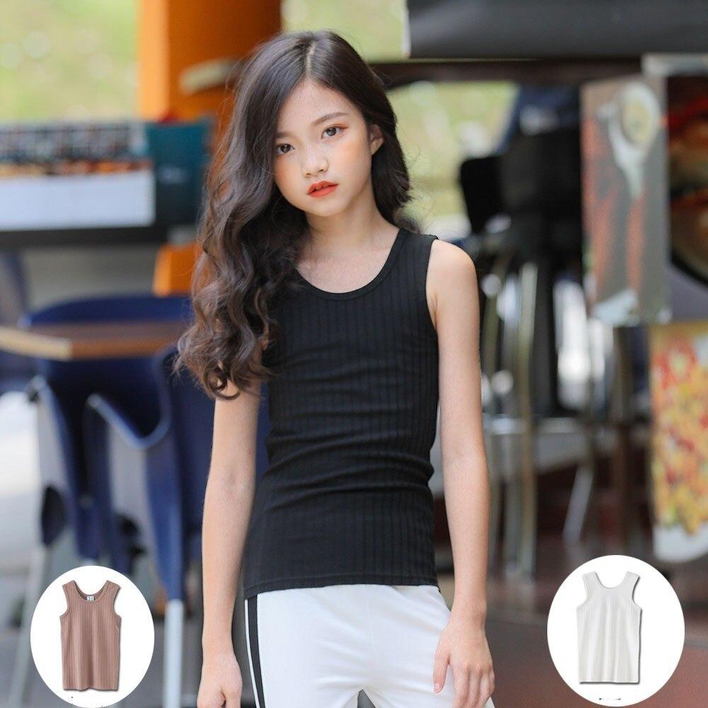 Kids T Shirts For Girls Toddler Kid Girl Tops Teen T-shirt Summer 2019 Sleeveless Vest White Black Yellow Children Clothing