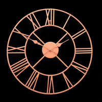 40cm Large Fashion Rose Gold Face Metal Skeleton Wall Clock Roman Numerals Big New