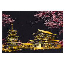 Kids Toys 40.5*28.5cm Chiang Mai Romatic Night Scene DIY Scratch Painting Scraping Art Painting Paper+Draw Stick Brush Frame(China)