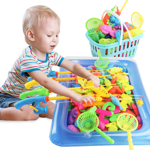 Rowsfire 60Pcs/Lot  Magnetic Fishing Pool Beach Toy Set Educational Toy With Large Pool For Children Pools & Water Fun