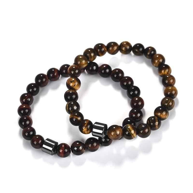 Moda masculina tiger eye pedra pulseiras pulseiras clássico preto natural lava pedras charme feminino grânulo pulseira 18.5cm