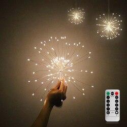 Diy fogos de artifício luz dobrável forma buquê led string decorativa luzes de fadas para guirlanda pátio festa de casamento natal luz