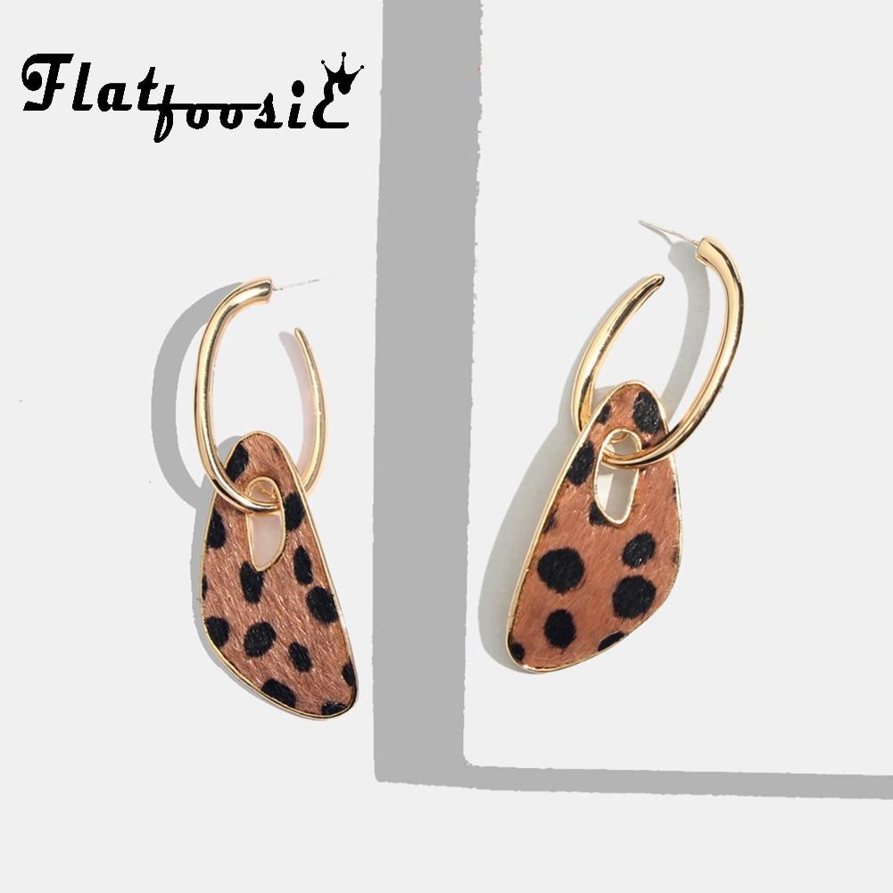 Flatfoosie Geometric Leopard Dangle Earrings For Women Vintage Gold Color Punk Statement Long Drop Earring Christmas New Jewlery