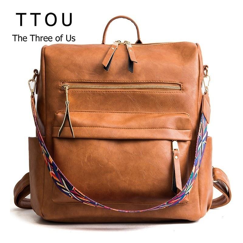 TTOU Women Pu Leather Backpack Students School Bag Large Multifunction Travel Bags Mochila Vintage