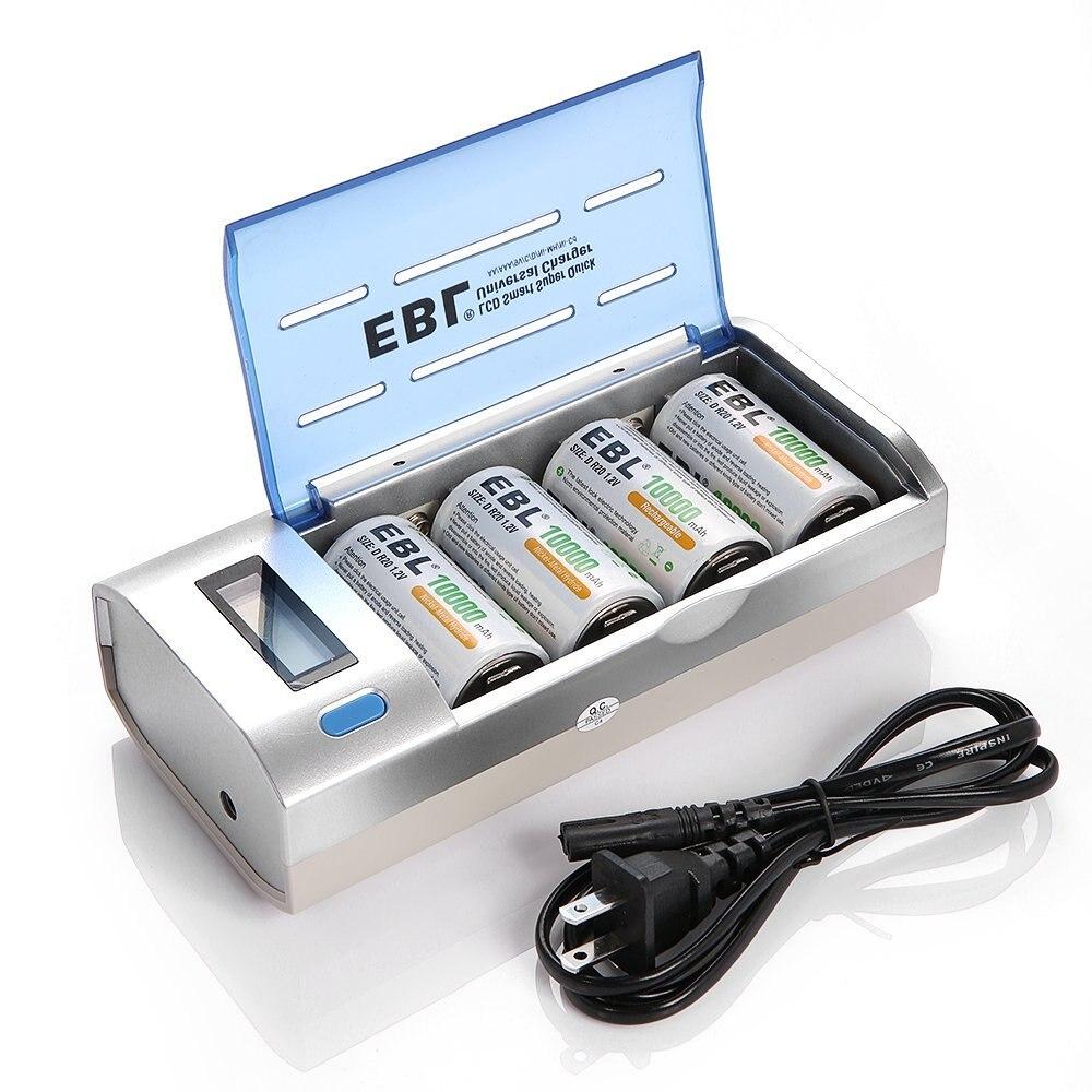 Piles rechargeables EBL D 10000 mAh (4 comptes) avec chargeur de batterie C D 9 V AA AAA