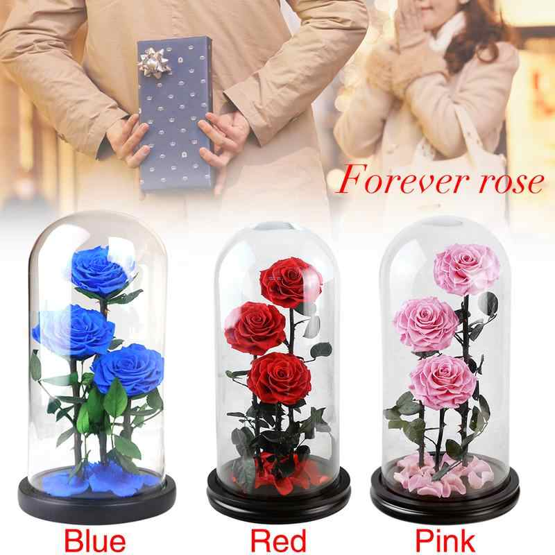 2019 Dried Eternal Roses Flowers Endless Preserved Roses Flower In Glass Valentine's Day Birthday Gift Wedding Party Decor