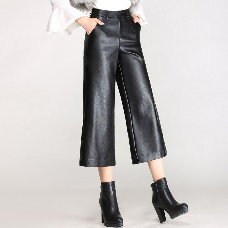 2019 Ladies Pu Leather   Wide     Leg     Pants   High Women Black Bottoms For Female Loose Trousers